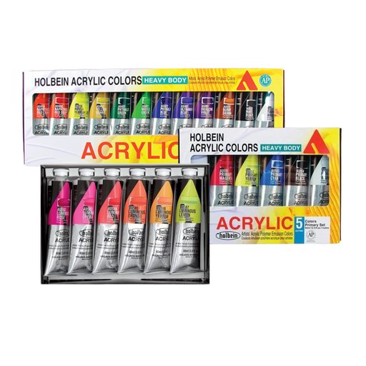 acrylic set of 12, acrylic set of 5 primary, acrylic set of 6 luminous colours