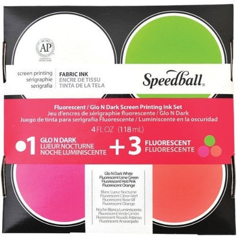 Speedball Fabric Screen Printing Fluorescent and Night Glo Set