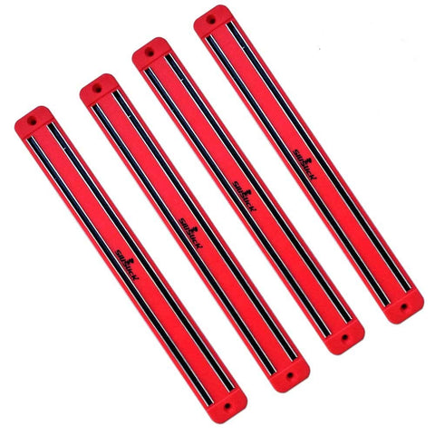Magnetic Wall Rack-Strip for Toys & Knives, Tools & Gun Mags for Bar & Kitchen Garage Bathroom Art Supplies & Home Organizer. 4 Pack Red