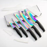 SiliSlick Kitchen Knife Set - 5 Elegant Chef Knives | Rainbow Blades | Black Handle