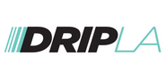 DripLA streetwear, shoes and sneakers store logo. Black letters D R I P followed by cyan letters L A