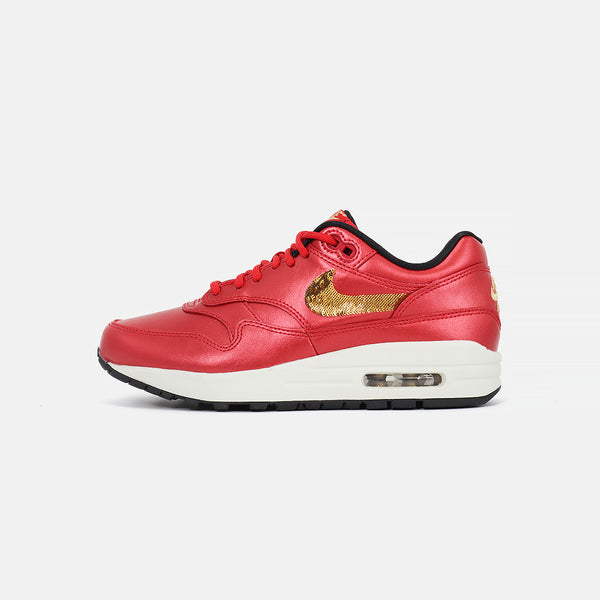 Womens  Air Max 1- University Red/Metallic Gold