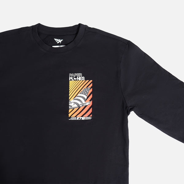 Paper Planes Boarding Pass Long Sleeve Tee- Black