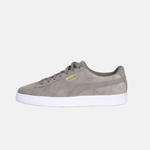 mens puma x TMC suede shoe charcoal gray with white insole on white background left side view sold at dripla Los Angeles