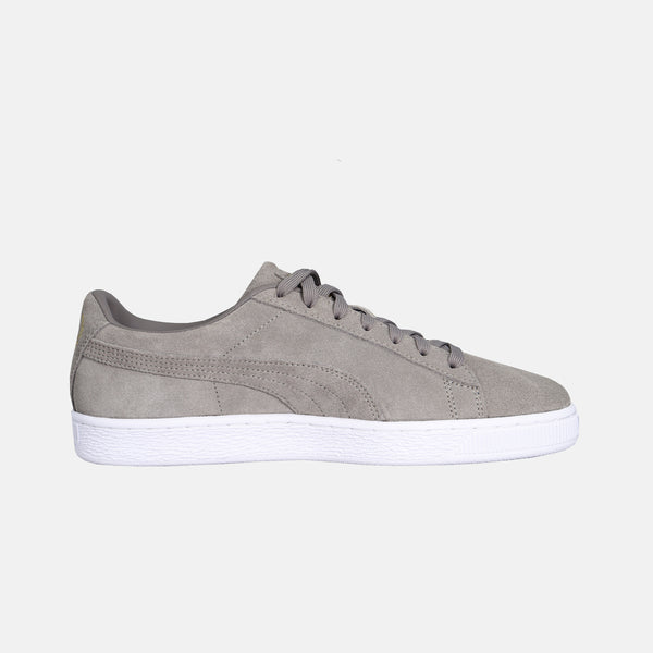 mens puma x TMC suede shoe charcoal gray with white insole on white background right side view sold at dripla Los Angeles