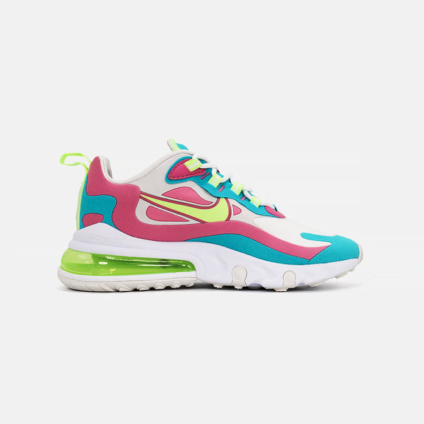 Womens Air Max 270 React- White/Barely Volt
