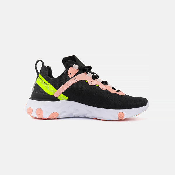 Womens Nike React Element 55 PRM- Black/Volt/Coral/Stardust