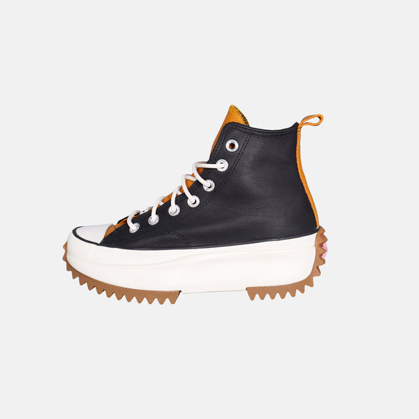 DripLA - Womens Converse Run Star Hi - Black / Saffron Yellow