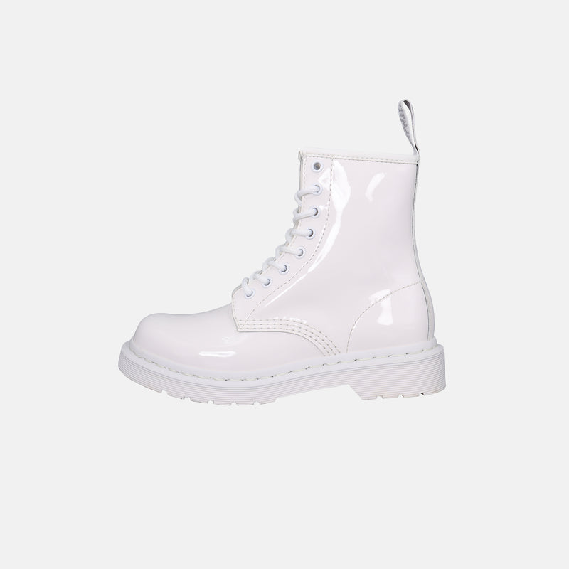 DripLA - Womens Dr.Martens Mono Patent Leather Lace Up Boots - White Pantent Lamper