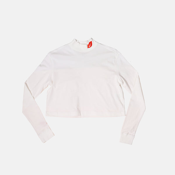 Womens Nike Sportswear Lips Long Sleeve Mock Neck Shirt - White/Red
