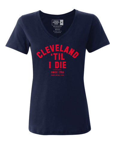 Cleveland 'Til I Die Navy Ladies V-neck