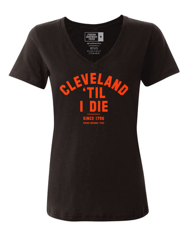 Cleveland 'Til I Die Brown Ladies V-neck