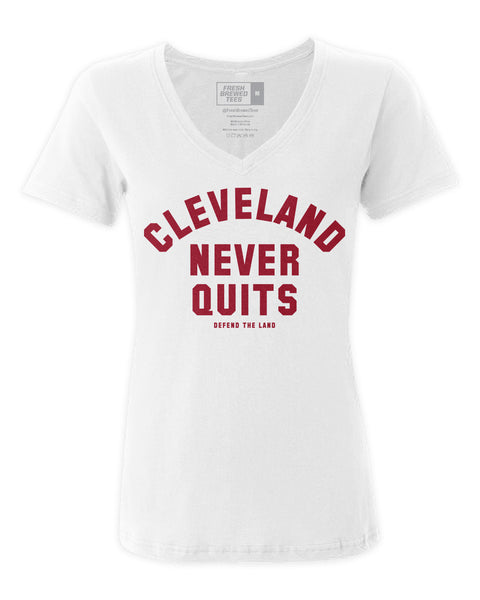 Cleveland Never Quits Ladies V-neck