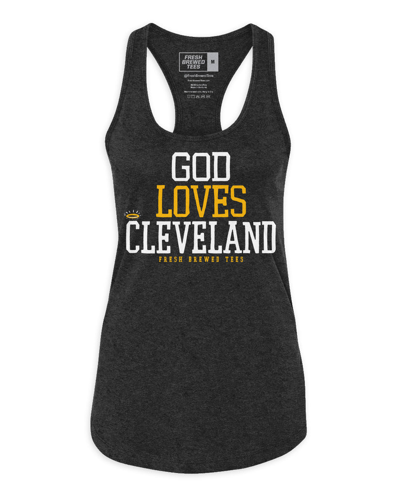 God Loves Cleveland Charcoal Ladies Tank