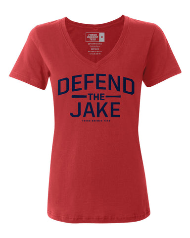 Defend the Jake Red Ladies V-Neck