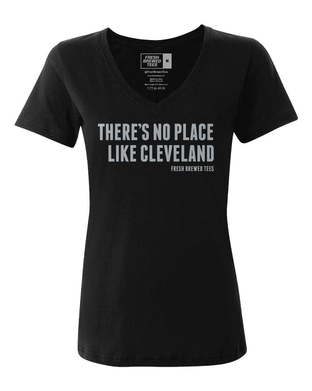 There's No Place Like Cleveland Black Ladies V-neck