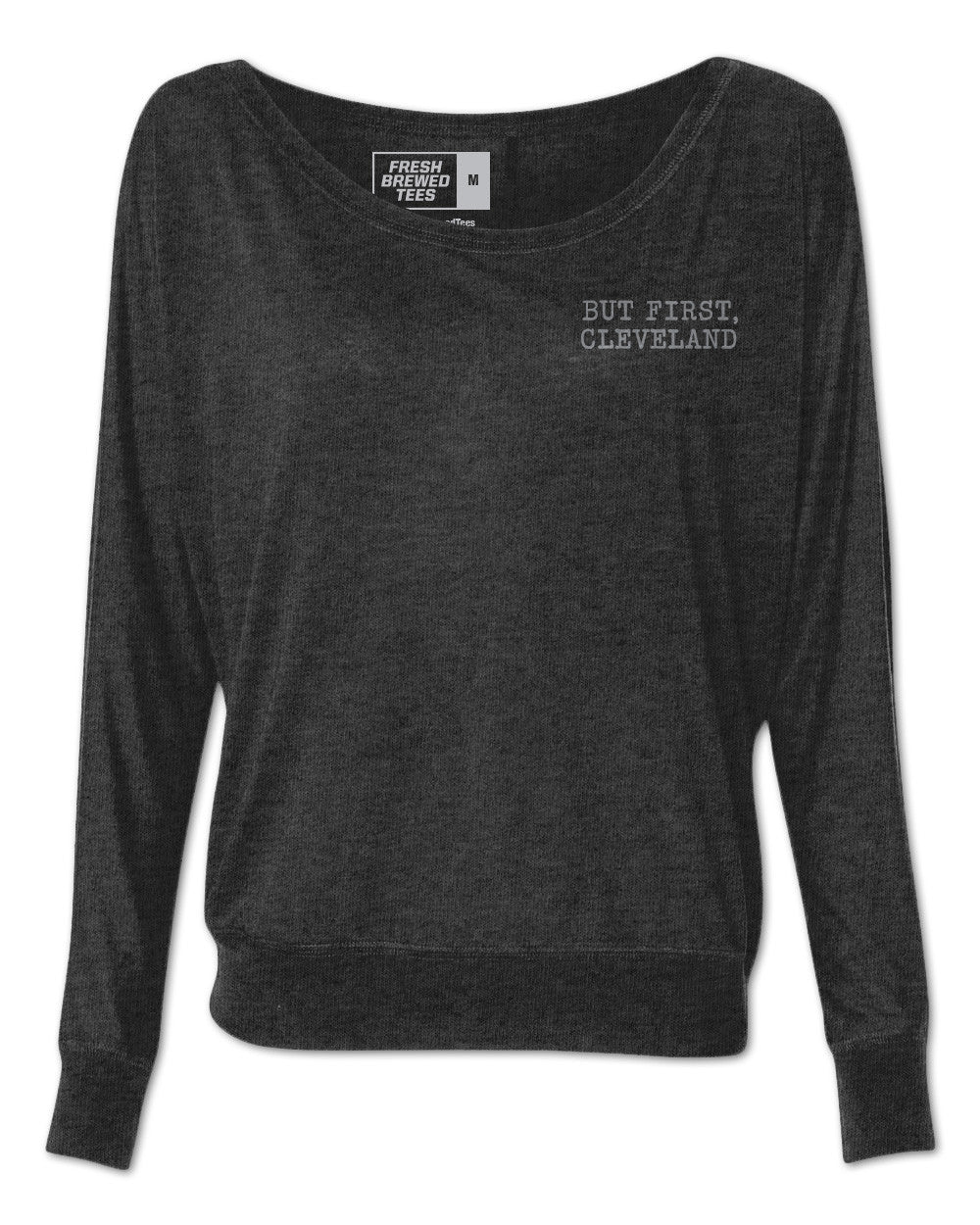 But First, Cleveland Typewriter Ladies Flowy Long Sleeve