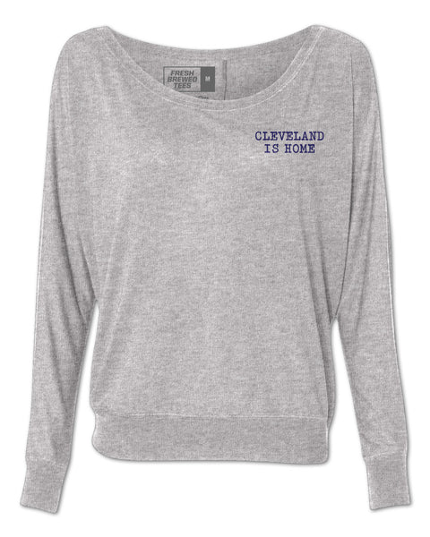 Cleveland Is Home Typewriter Ladies Flowy Long Sleeve