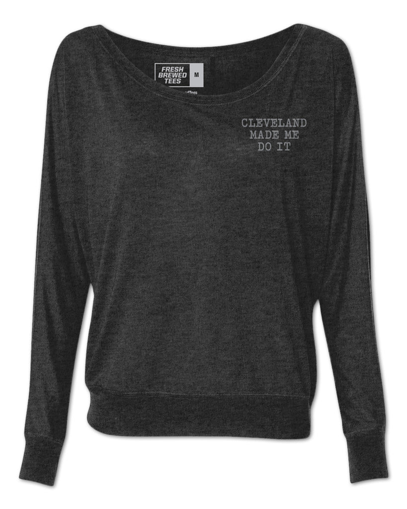Cleveland Made Me Do It Typewriter Ladies Flowy Long Sleeve