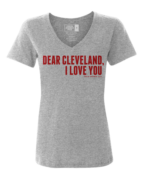 Dear Cleveland I Love You Heather Grey Ladies V-Neck