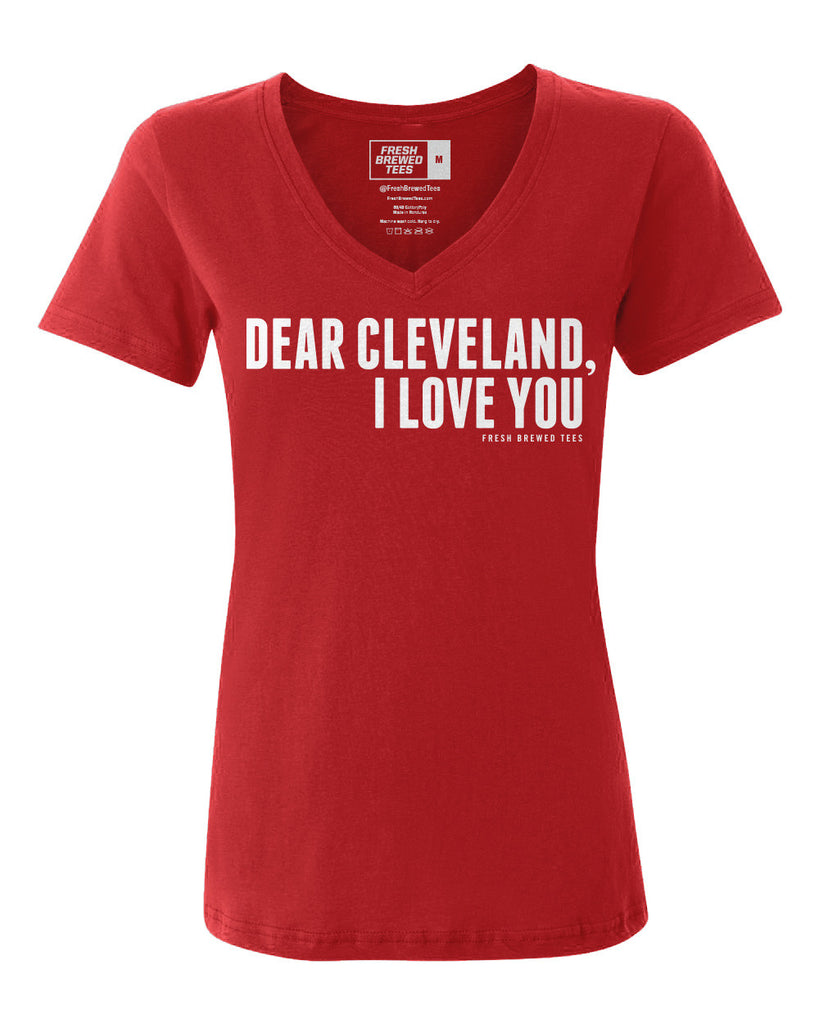 Dear Cleveland I Love You Red Ladies V-Neck