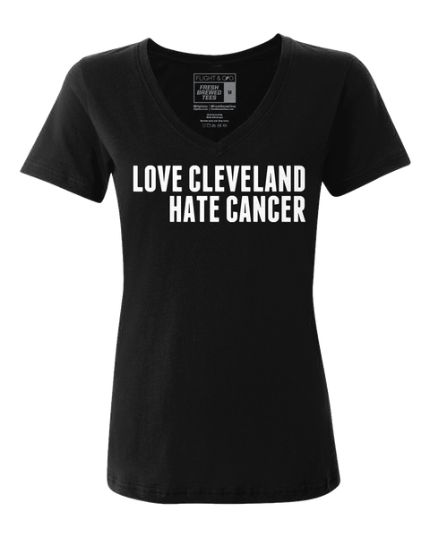 Love Cleveland Hate Cancer Black Ladies V-neck