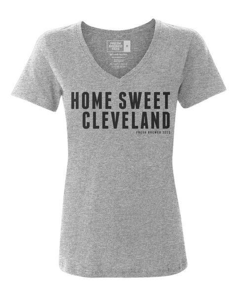 Home Sweet Cleveland Heather Grey Ladies V-Neck