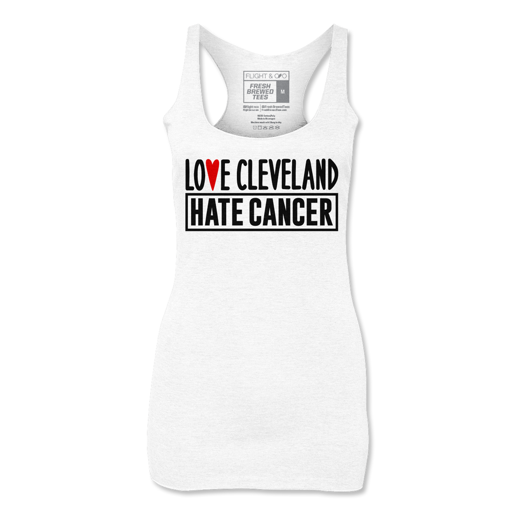 Love Cleveland Hate Cancer White Ladies Tank