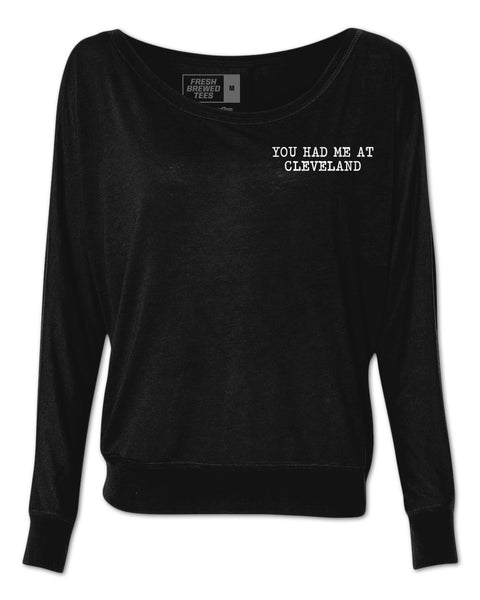 You Had Me At Cleveland Typewriter Ladies Flowy Long Sleeve