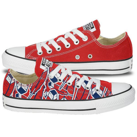 Custom Converse Red Feather Shoes