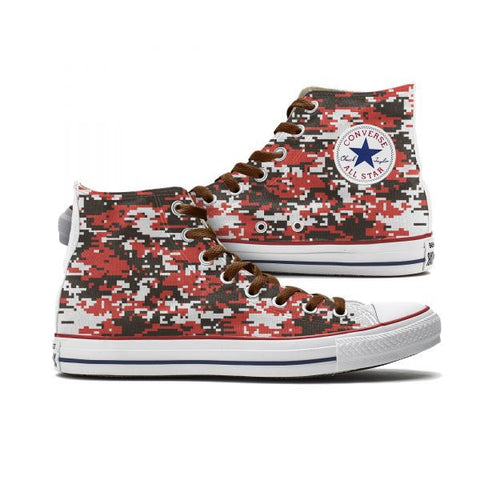 Brown & Orange Digital Camo Custom High Top Chucks