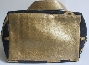 Black | Gold Leather Bottom Medium Tote