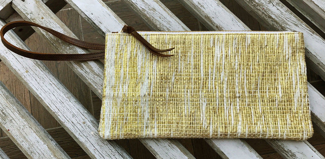 Golden Zari Clutch with Wristlet