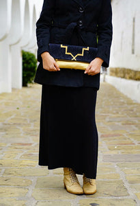 Black | Gold Foldover Clutch