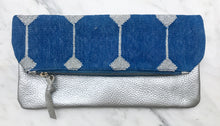 Load image into Gallery viewer, Blue | Silver Foldover Clutch