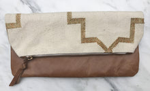 Load image into Gallery viewer, Cream | Gold Foldover Clutch