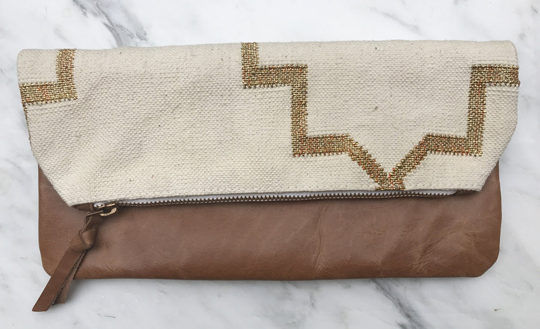 Cream | Gold Foldover Clutch