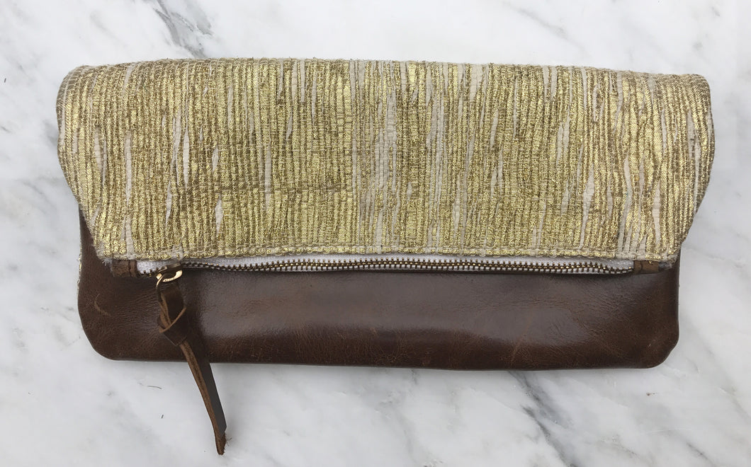 Golden Zari Foldover Clutch