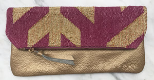 Magenta | Gold Foldover Clutch