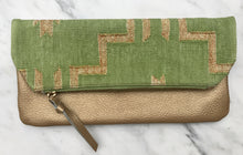 Load image into Gallery viewer, Lime | Gold Foldover Clutch