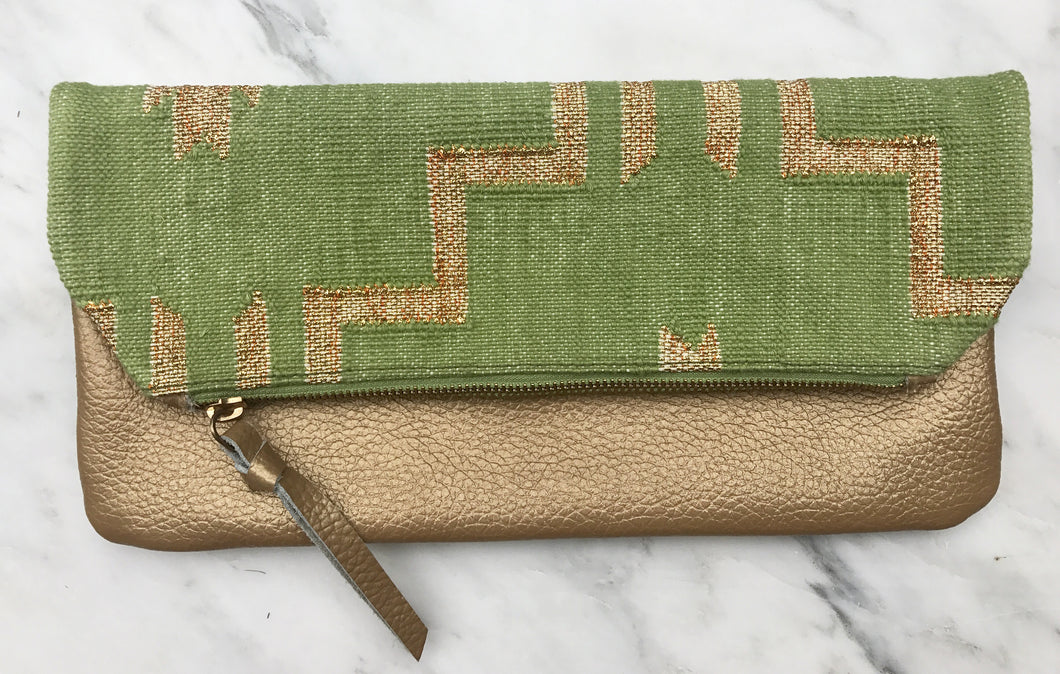 Lime | Gold Foldover Clutch