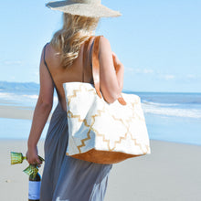 Load image into Gallery viewer, Cream | Gold Leather Bottom Weekender Tote