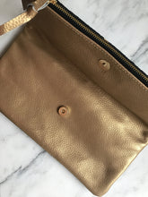 Load image into Gallery viewer, Black | Gold Foldover Clutch