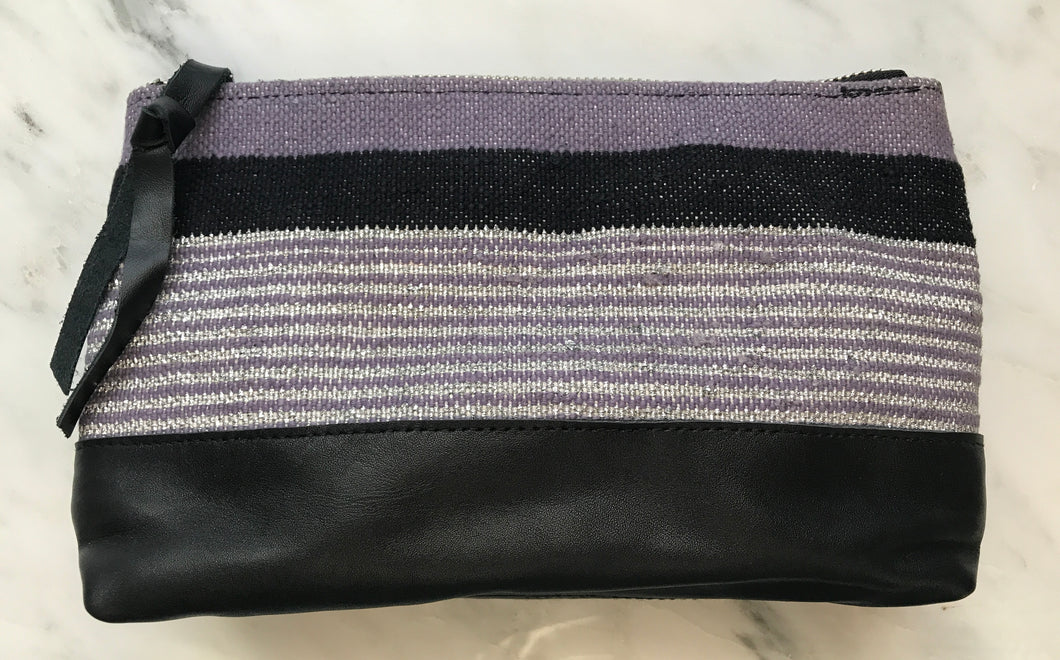 Periwinkle Leather Bottom Makeup Bag