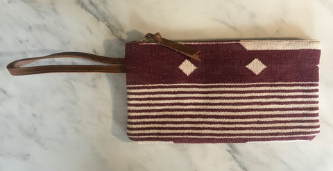 Burgundy | White Clutch with Wristlet