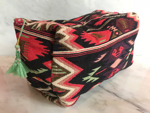 Bangali Makeup Bag | Multi + Spearmint Tassel