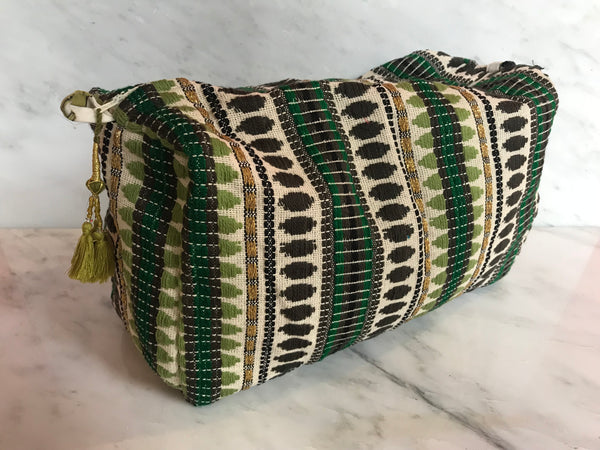 Bangali Makeup Bag | Greens + Olive Tassel