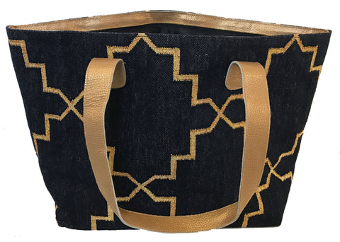 Black | Gold Leather Bottom Weekender Tote
