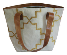 Load image into Gallery viewer, Cream | Gold Leather Bottom Medium Tote
