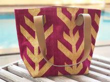 Load image into Gallery viewer, Magenta | Gold Leather Bottom Medium Tote